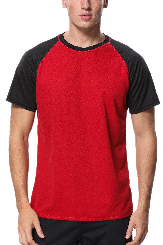 Charmo Mens Sun Protection Water Shirts Loose Rash Guard Shirt Swimwear top red M by Charmo
