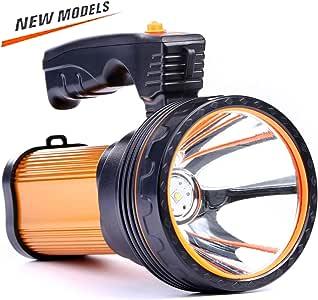 CSNDICE 35W LED Rechargeable Handheld Flashlights, High-power Super Bright 6000mah 9000 Lumens, USB Power Bank Rechargeable flashlights IPX4 Waterproof Searchlight, Portable Handheld Torch.(Golden)