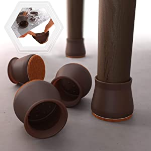 16 PCS Dark Walnut Color Silicone Chair Leg Floor Protectors with Felt Pads - Easy Sliding Silicon Protection Cover - Silicone Furniture Leg Caps Felt Pads. Protect Furniture & Floors from Scratches.