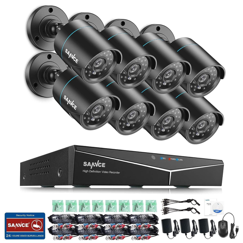 SANNCE 8CH 720P HD Video Ü berwachungskamera System ohne Festplatte 5-in-1 1080N HDMI DVR Recorder mit 8 Outdoor 1.0MP 720P CCTV Haus Sicherheit Kamera Set, 20M Nachtsicht, P2P Schnellzugriff