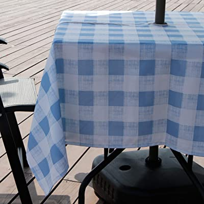 AooHome 60x60 Inch Square Tablecloth with Zipper and Umbrella Hole, Polyester Spill-Proof Water Repellent Plaid Table Cover for Summer Outdoor Holiday Party, Machine Washable, Heavy Weight, Blue: Kitchen & Dining