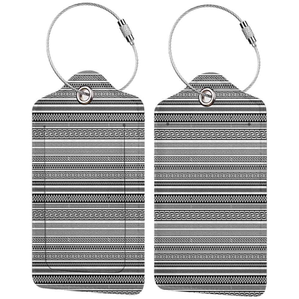 Multi-patterned luggage tag Antique Decor Set of Old Greek Borders Traditional Neoclassical Geometric Ancient Designs Double-sided printing Black White W2.7 x L4.6
