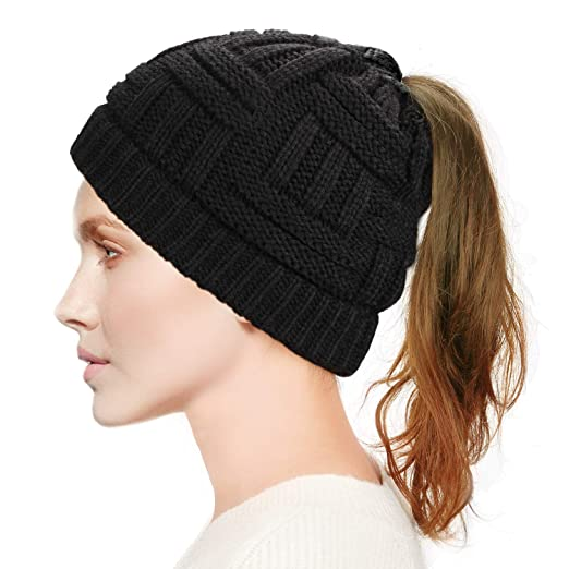 8fb03a448 Dafunna Womens Ponytail Beanie Hat Soft Stretchy Cable Knit ...