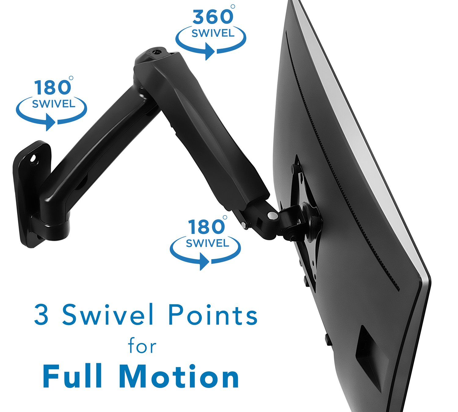 Monitor Wall Mount Articulating Adjustable Gas Spring Arm For 17 To 32 Inch