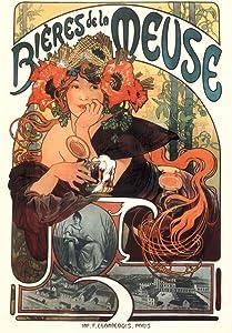 Alphonse Mucha Bieres De La Meuse Art Print Art Nouveau Vintage Beer Advertisement French France 1897 Poppies Wheat Hops Summer Seasons Cool Wall Decor Art Print Poster 12x18