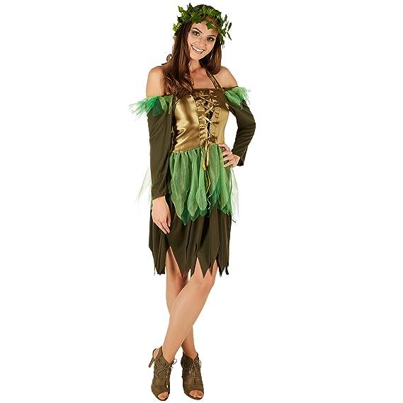 Disfraz de Hada del bosque para Mujer | Vestido Encantador | Incl. Corona de Hiedra Artificial