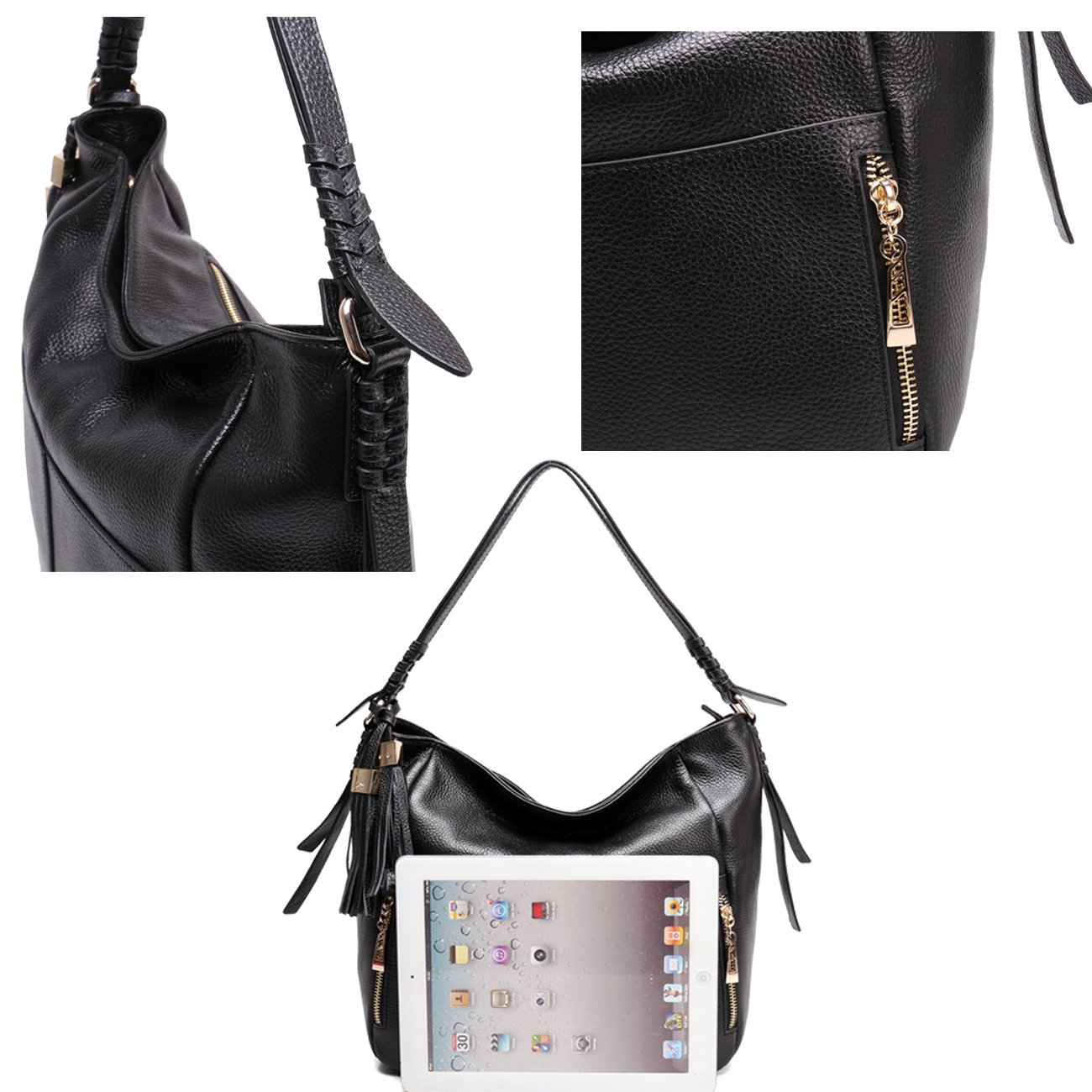 Geya Women's Fashion Genuine Leather Handbag Shoulder Handbag with Imported Soft Hot Leather (Black) by Geya (Image #8)