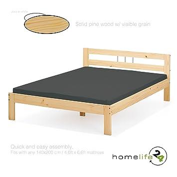 H24living Lit Double Taille 140 X 200 Cm Meubles De Chambre A