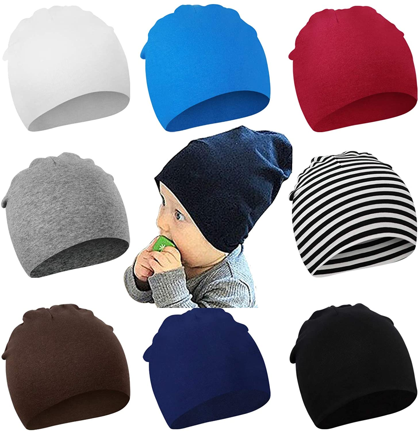 DRESHOW 8 Pieces Baby Beanie Newborn Toddler Soft Cute Knit Hat Hospital Hats for Baby Boys Infant Cap Beanies