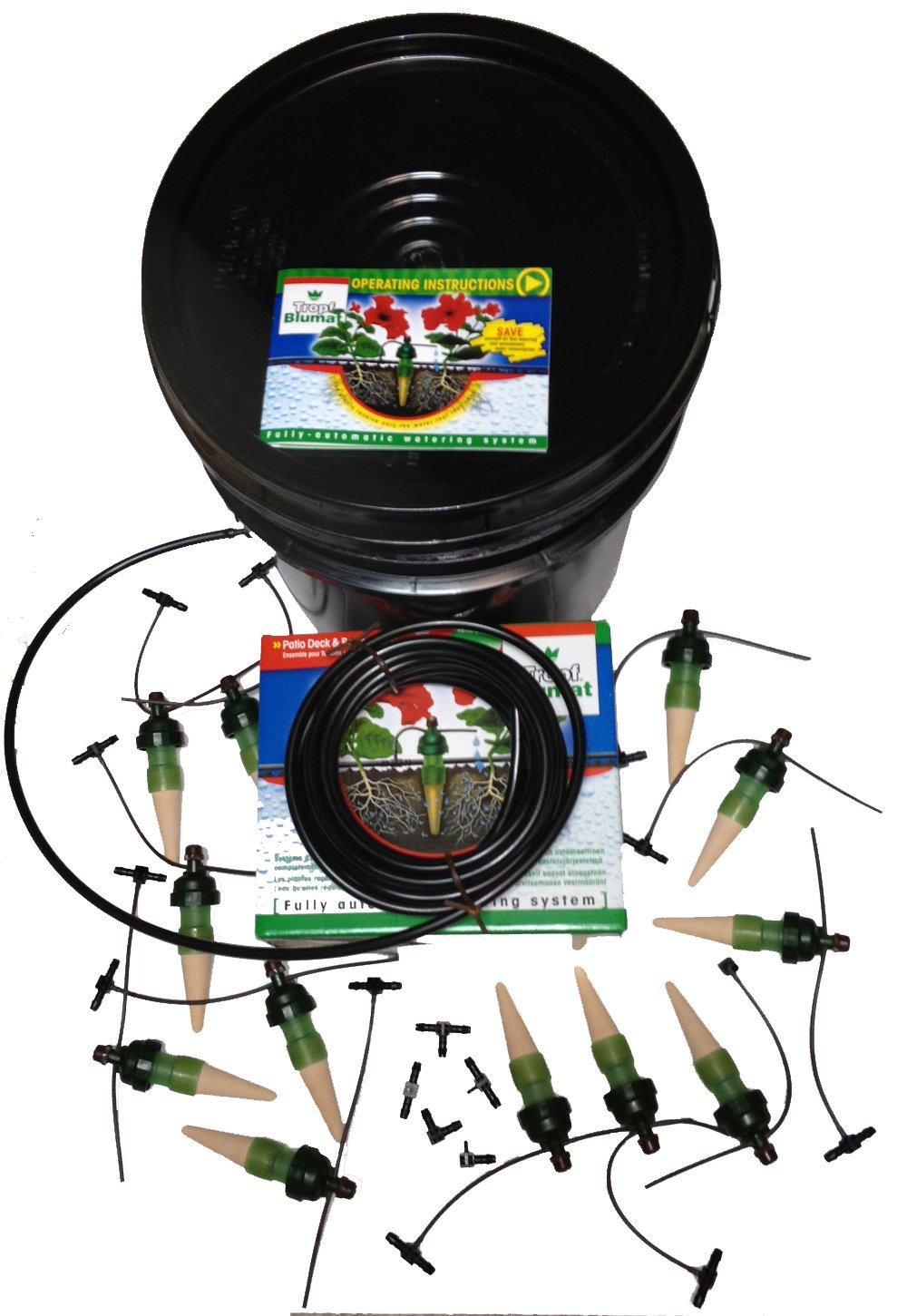 Blumat Plant Spikes Kit, Medium w/ 5 Gallon Reservoir, Made in Austria, 12 Stakes for Automatic or Vacation Watering