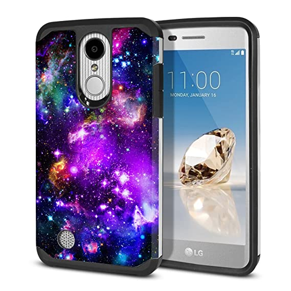 FINCIBO Case Compatible with LG Aristo MS210 LV3 K8 2017 Phoenix 3 M150  Fortune, Dual Layer Hard Back Hybrid Protector Cover TPU for LG Aristo  MS210