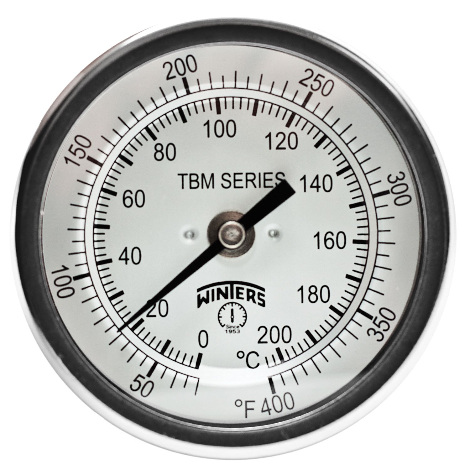 Winters TBM Series Stainless Steel 304 Dual Scale Bi-Metal Thermometer, 4'' Stem, 1/2'' NPT Fixed Center Back Mount Connection, 3'' Dial, 50-400 F/C Range by Winters Instruments