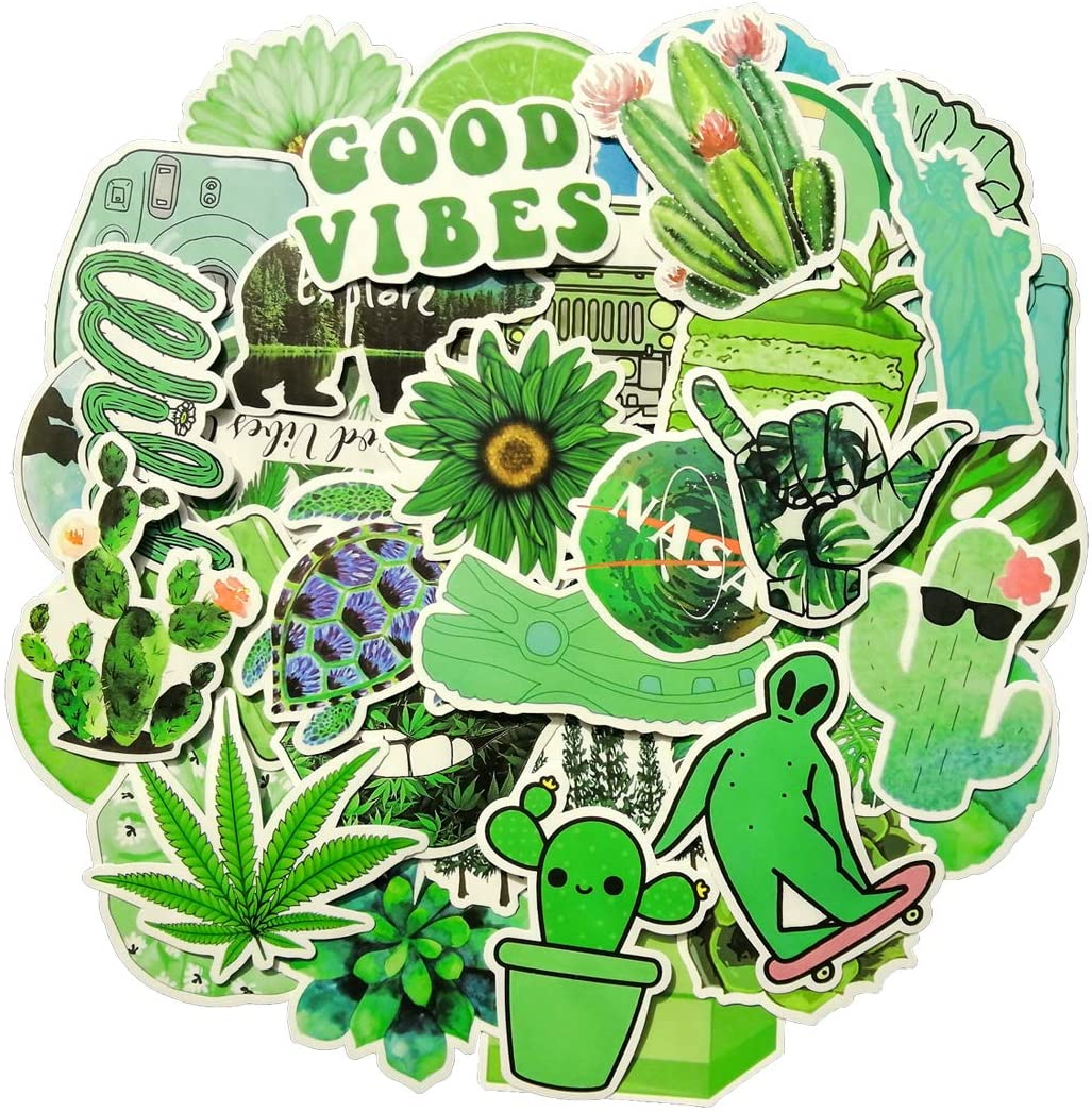 MSOLE 50PCS Big Green Vsco Stickers for Water Bottles Laptop HydroFlasks Cute Waterproof Aesthetic Trendy Decals for Mac Phone Guitar for Kids Teens Girls