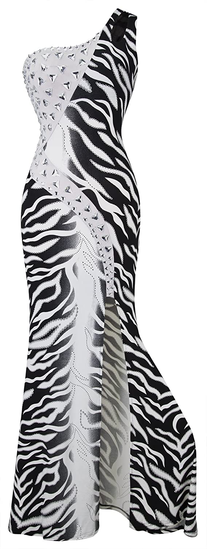 Angel-fashions Women's One Shoulder Zebra Print Furcal Maxi Evening Gown A-036BK