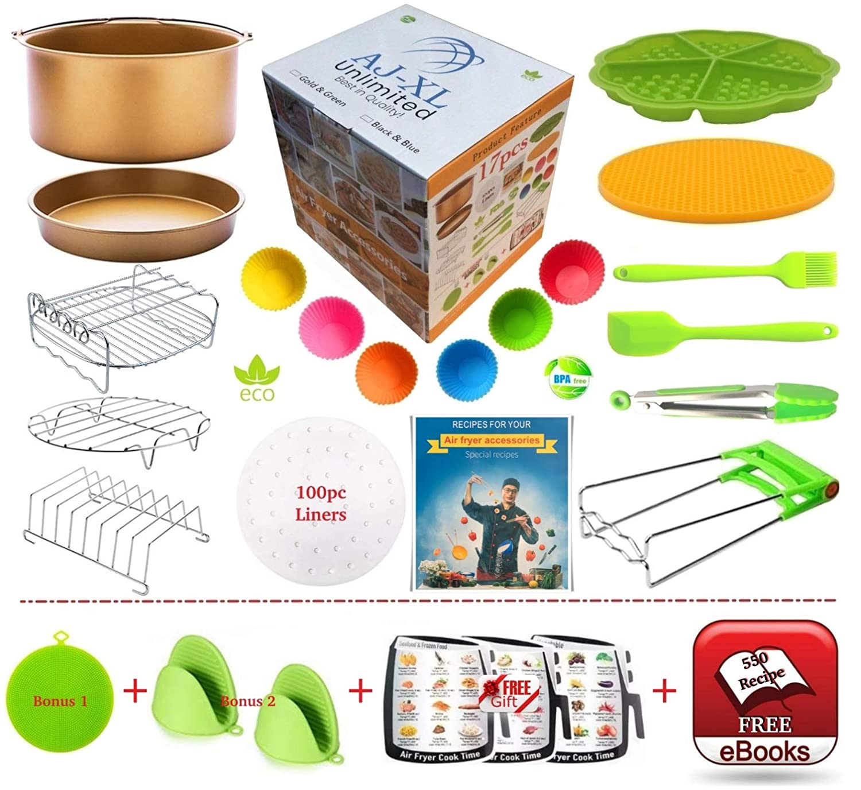 "AJ-XL Unlimited - Gold & Green 14pc Set + 2 Bonus + 1 Gift = 17 Pcs + FREE 550 Recipe e-Book! Foodi Air Fryer Accessories XL 8"" for Cosori Gowise Cozyna Ninja 4.2-5.8QT Power Airfryer Recipe Cookbook."