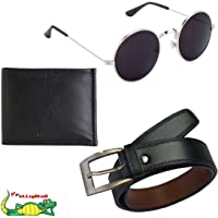ELLIGATOR Men's Belt Wallet and Sunglasses Summer Special Combo (Multicolour)