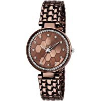 TIMESOON Diamond Studded Analogue Brown Dial Women's Watch with Brown Color Bracelet