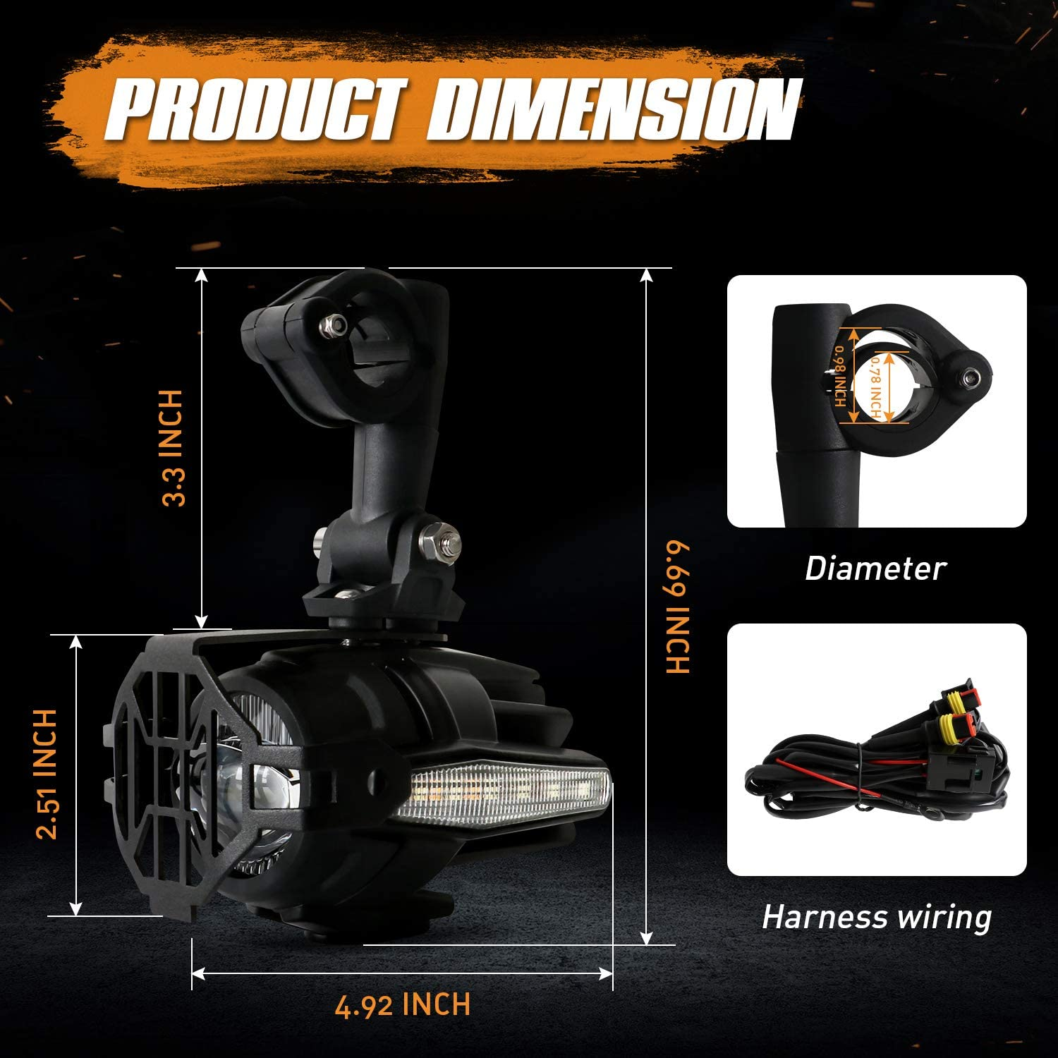 LED Auxiliary Lights for Motorcycle BMW K1600 R1200G AAIWA 2pcs 40W 6000K Fog Driving Light Kits with Amber Turn Signal Protect Guards Wiring Harness 2 Years Warranty