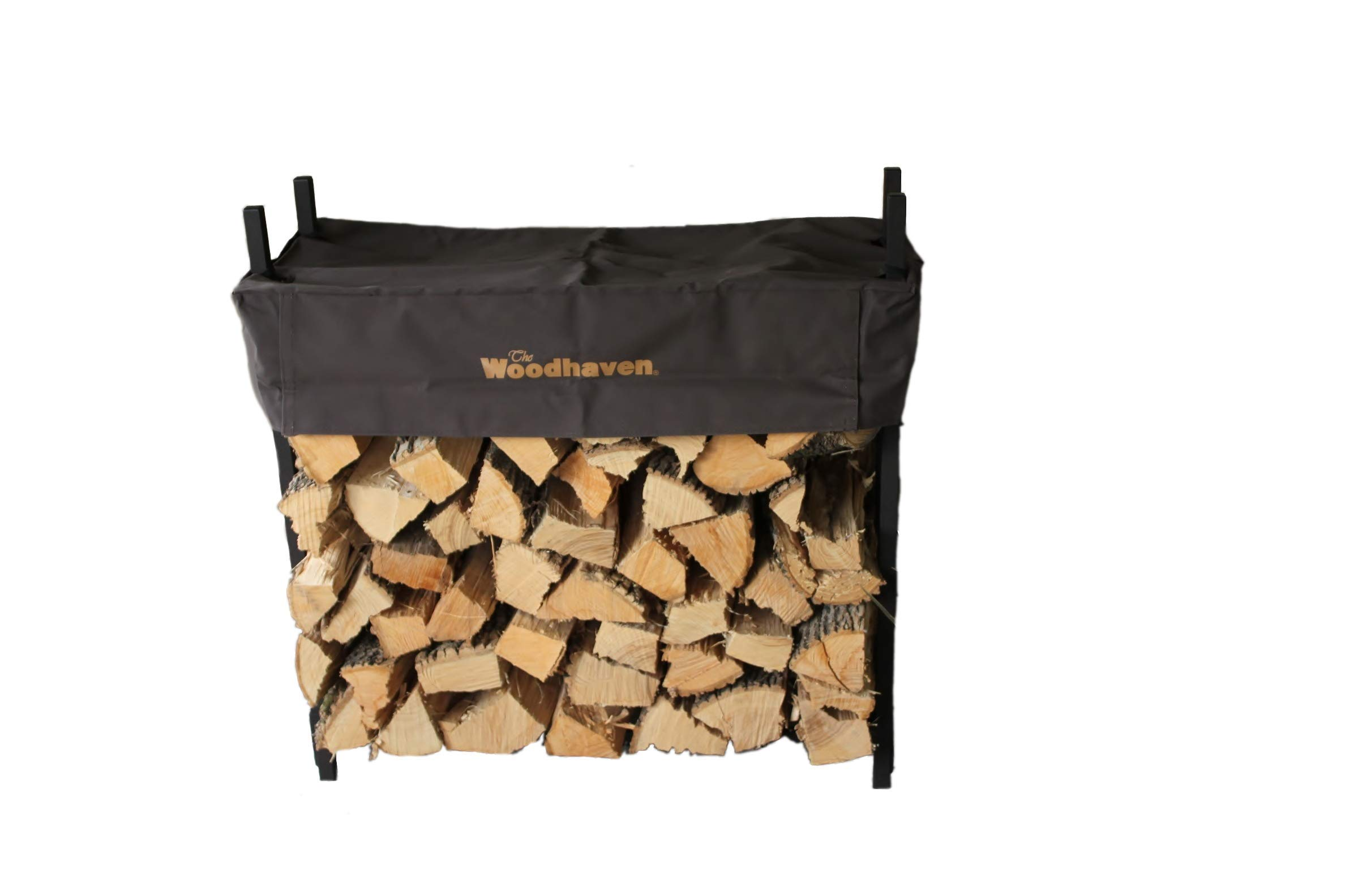 The Woodhaven 3 Foot Brown Firewood Log Rack with Cover