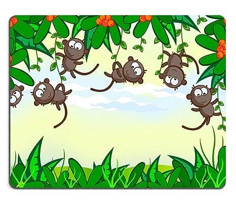 Tony Mouse Pad Caucho Natural Mousepad Fondo de Dibujos Animados Selva El Marco de la Planta