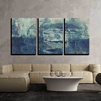 Admirable Wall26 3 Piece Canvas Wall Art Art Abstract Acrylic Background In White And Blue Colors Modern Home Decor Stretched And Framed Ready To Hang Home Interior And Landscaping Staixmapetitesourisinfo