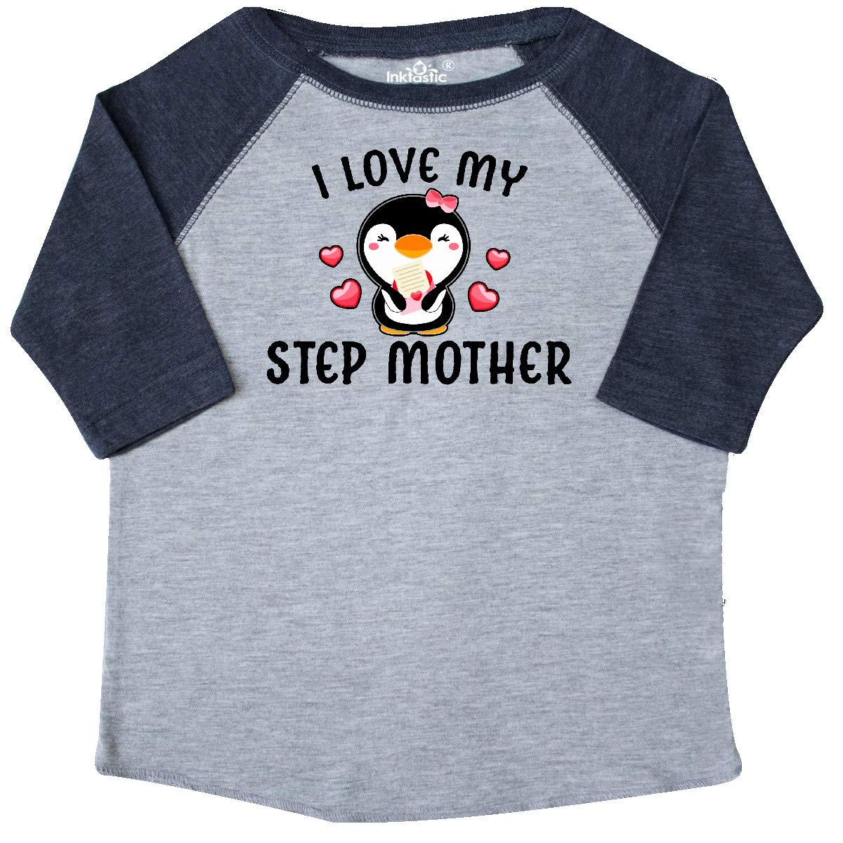 inktastic I Love My Step Mother with Cute Penguin and Hearts Toddler T-Shirt