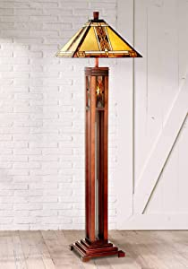 Mission Floor Lamp with Nightlight Walnut Wood Column Stained Glass Shade for Living Room Reading Bedroom - Robert Louis Tiffany