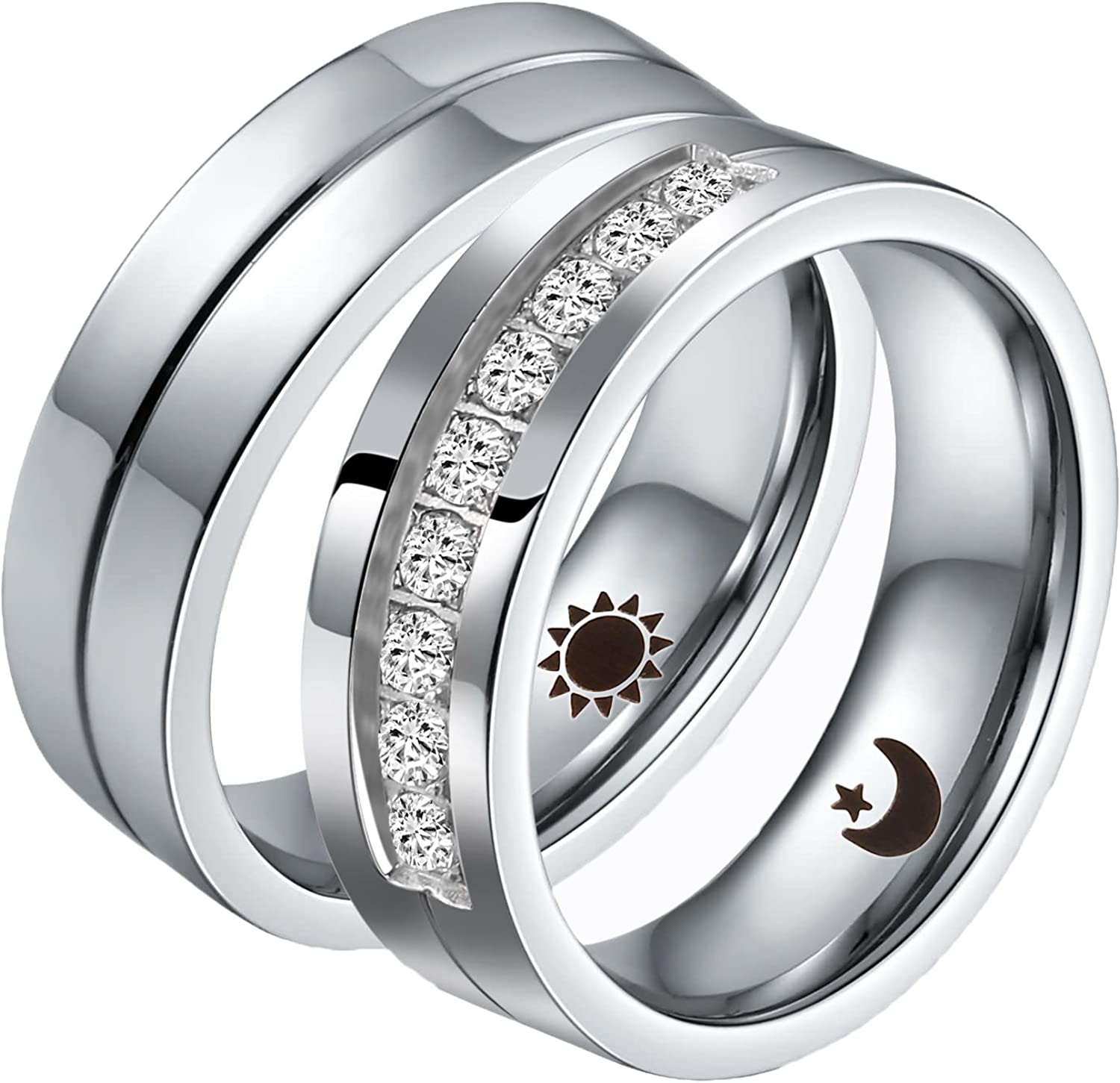 Aeici Stainless Steel Rings for Women Men Couple Ring Matching Set Wedding Bands Cubic Zirconia CZ Silver