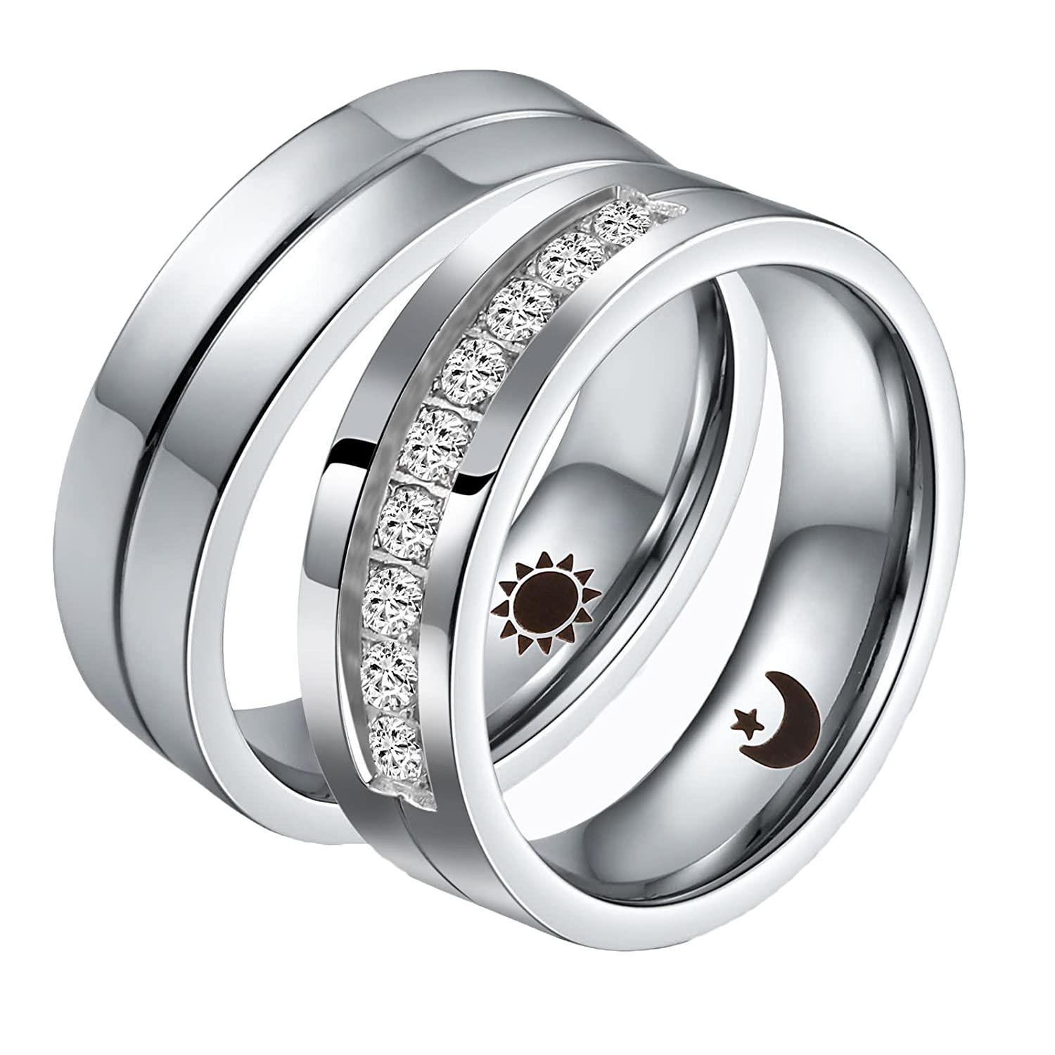 74327be4b3 Aeici 2 PCS Couple Rings Stainless Steel Wedding Rings for Men Women  Personalized Size 5 & Size 10: Aeici: Amazon.ca: Jewelry