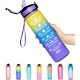 Giotto 32oz Leakproof BPA Free Drinking Water Bottle with Time Marker & Straw to Ensure You Drink Enough Water Throughout The