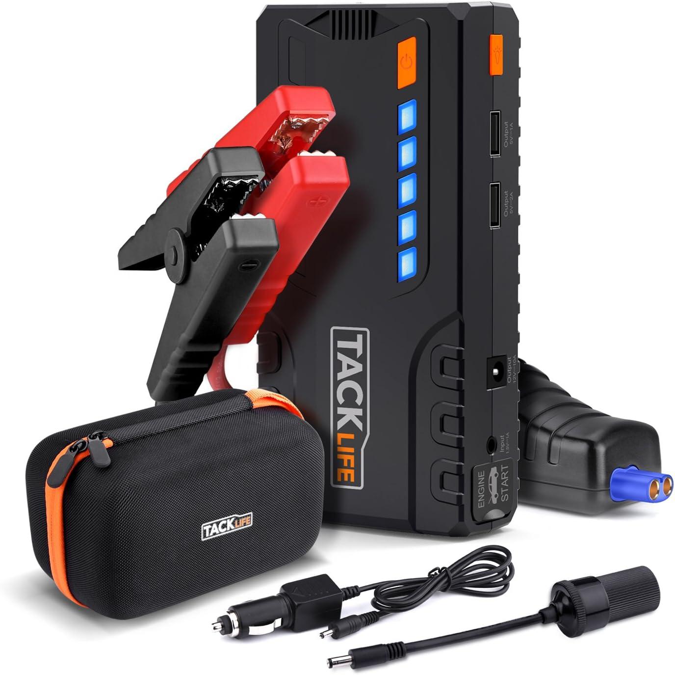 Jusqu/' D/émarrage de Voiture TACKLIFE T6 Booster Batterie 600A 16500mAh Portable Jump Starter