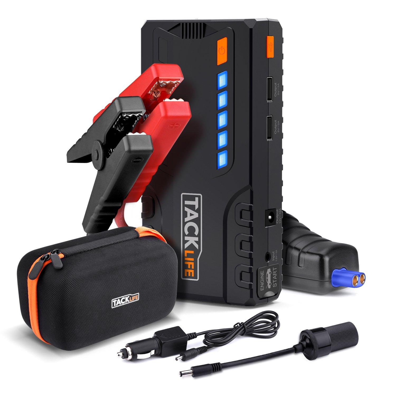 TACKLIFE T6 Booster Batterie - 600A 16500mAh Portable Jump Starter, Démarrage de Voiture ( Jusqu'à 6.2L Essence 5.0L Gazole ), Lamp LED, Deux Port de Charge, UL Certifié UL Certifié