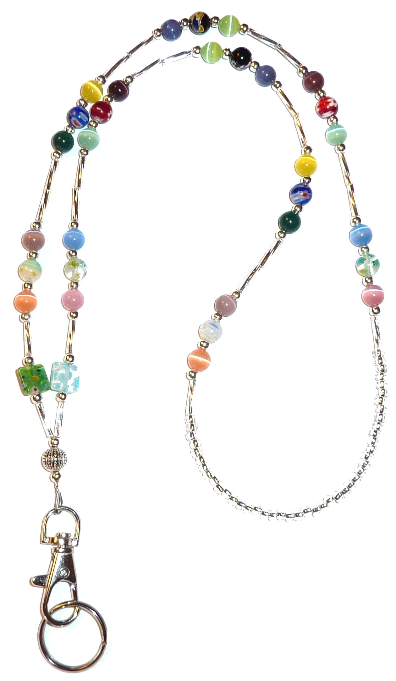 Hidden Hollow Beads Women's Beaded Lanyard 34 Inches, SUPER SLIM Multi - NON Breakaway ( Stronger)