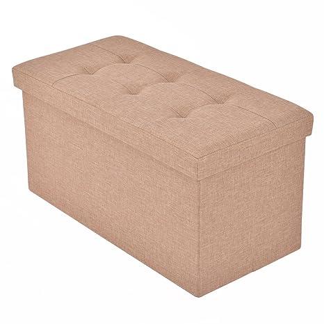 Giantex Folding Rect Ottoman Bench Storage Stool Box Footrest Furniture Decor (Beige)  sc 1 st  Amazon.com & Amazon.com: Giantex Folding Rect Ottoman Bench Storage Stool Box ...