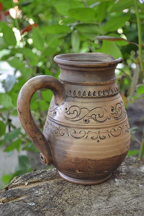 Cafetera de arcilla hecha a mano grande ceramica lechera original ...