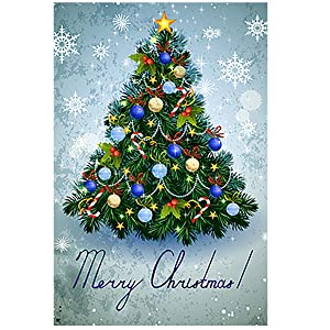 Morigins Colorful Christmas Tree Garden Flag House Banner 12 x 18 inch, Winter Happy New Year Decorative Flag for Party Yard Home Outdoor Decor