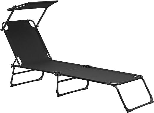 casa.pro] Tumbona plegable 190cm negra con techo - acero - hamaca de playa, para jardín, silla reclinable piscina: Amazon.es: Jardín