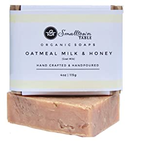Natural Oatmeal-Honey Goat Milk Soap-Bar - All Natural, Exfoliating, with Organic Oats and Coconut Oil to Gently Cleanse Body and soften dry spots