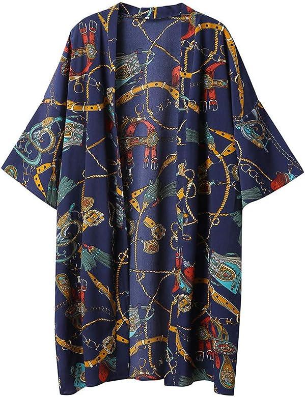 Mujeres Invierno Otoño Verano Impresión Cabo Abierto Abrigo Informal Abrigo Blusa Kimono Chaqueta Cárdigan: Amazon.es: Ropa y accesorios