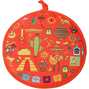 DOKKIA Tortilla Warmer 12 Inch Insulated Cloth Pouch - Microwavable Use Fabric Bag to Keep Food Warm for up to One Hour (12 Inch, Sombrero Salsa Tequila Papel Picado Pinata)