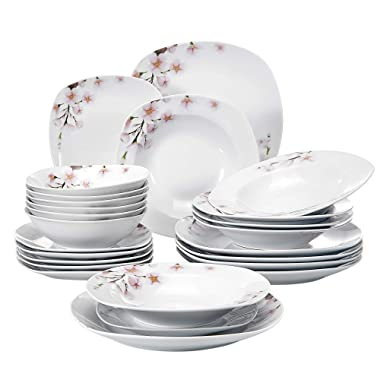 VEWEET 24-Piece Ceramic Dinnerware Set Porcelain Floral Pattern Plates and Bowls Kitchen Set Dinner Plate, Soup Plate, Service for 6 (Annie Series)