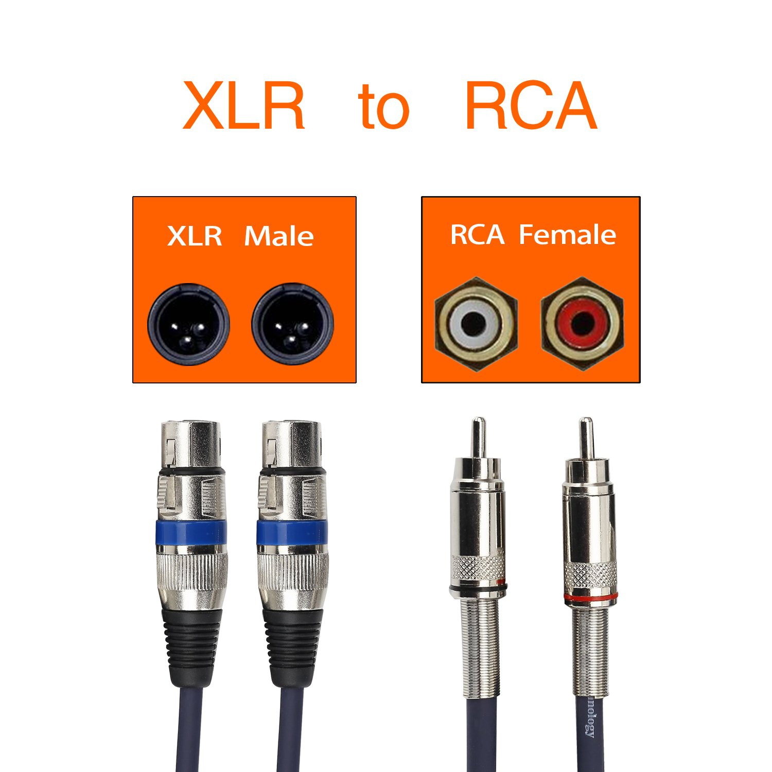 Tisino Dual Female Xlr To Rca Cable Heavy Duty 2 Wiring Audio Musical Theatre Male Patch Hifi Stereo Connection Microphone Wire Cord