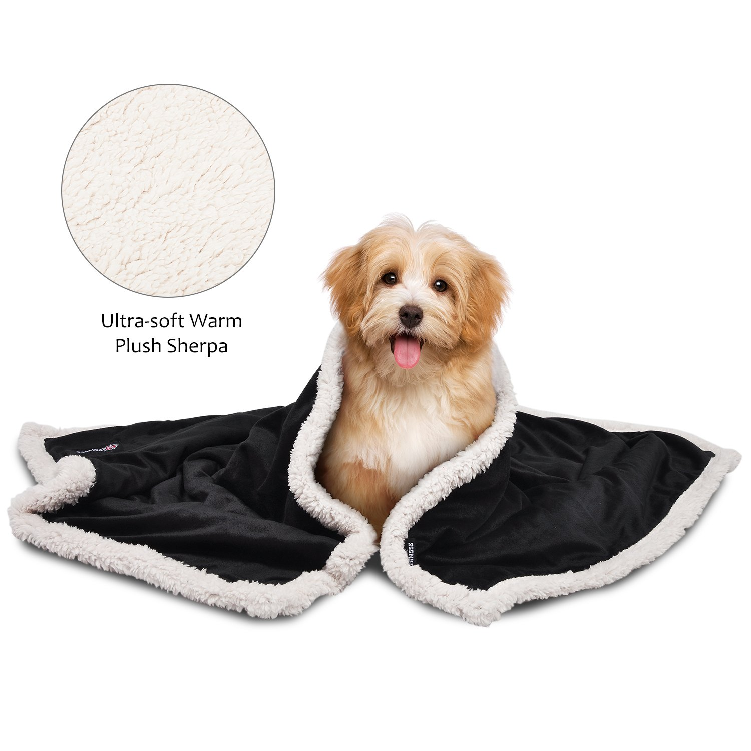 Pawsse Sherpa Puppy Blanket for Small Dogs Kitten, Warm Flannel Plush Pet Bed Blanket Reversible, 45''x30'' Black/Latte