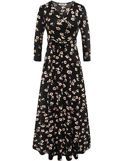 1f068d0095 Melynnco Women's Sleeveless V Neck Faux Wrap Casual Floral Long Maxi ...
