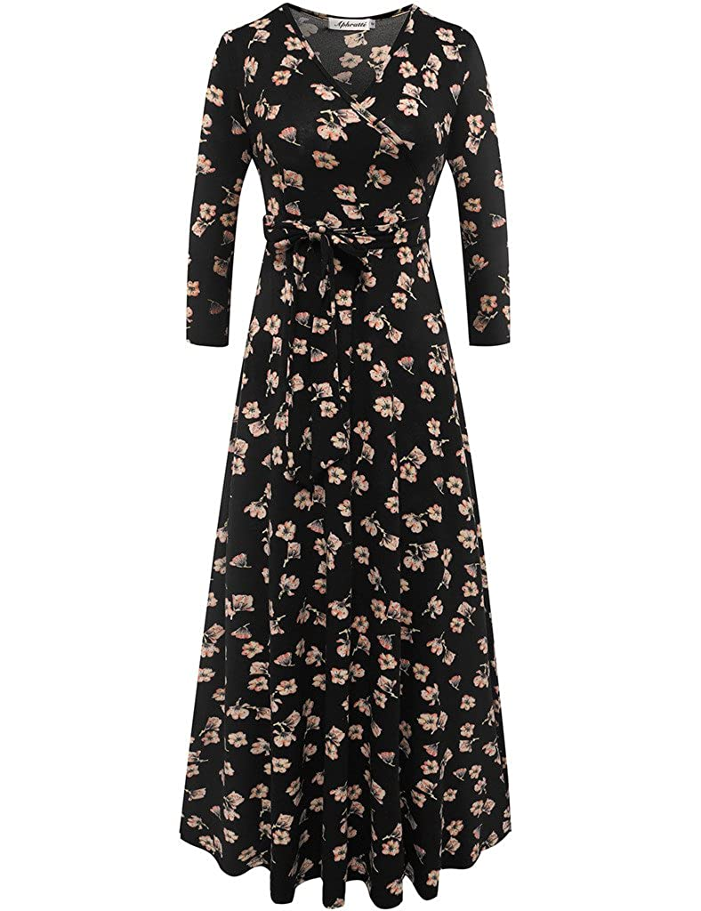 e3a79e50f3a Aphratti Women s Summer Casual Faux Wrap V Neck Floral Long Maxi Dress at Amazon  Women s Clothing store