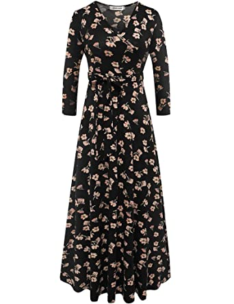 5ac8f120a286 Aphratti Women's 3/4 Sleeve Vintage Wrap Long Maxi Dress with Belt Small  Black