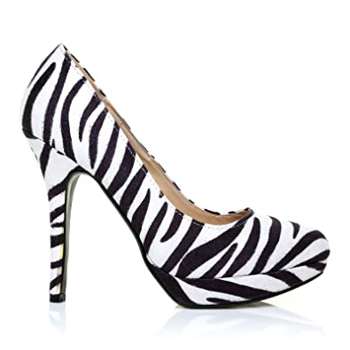 c3a690b1ed8a EVE Zebra Print Microfibre Stiletto High Heel Platform Court Shoes:  Amazon.co.uk: Shoes & Bags
