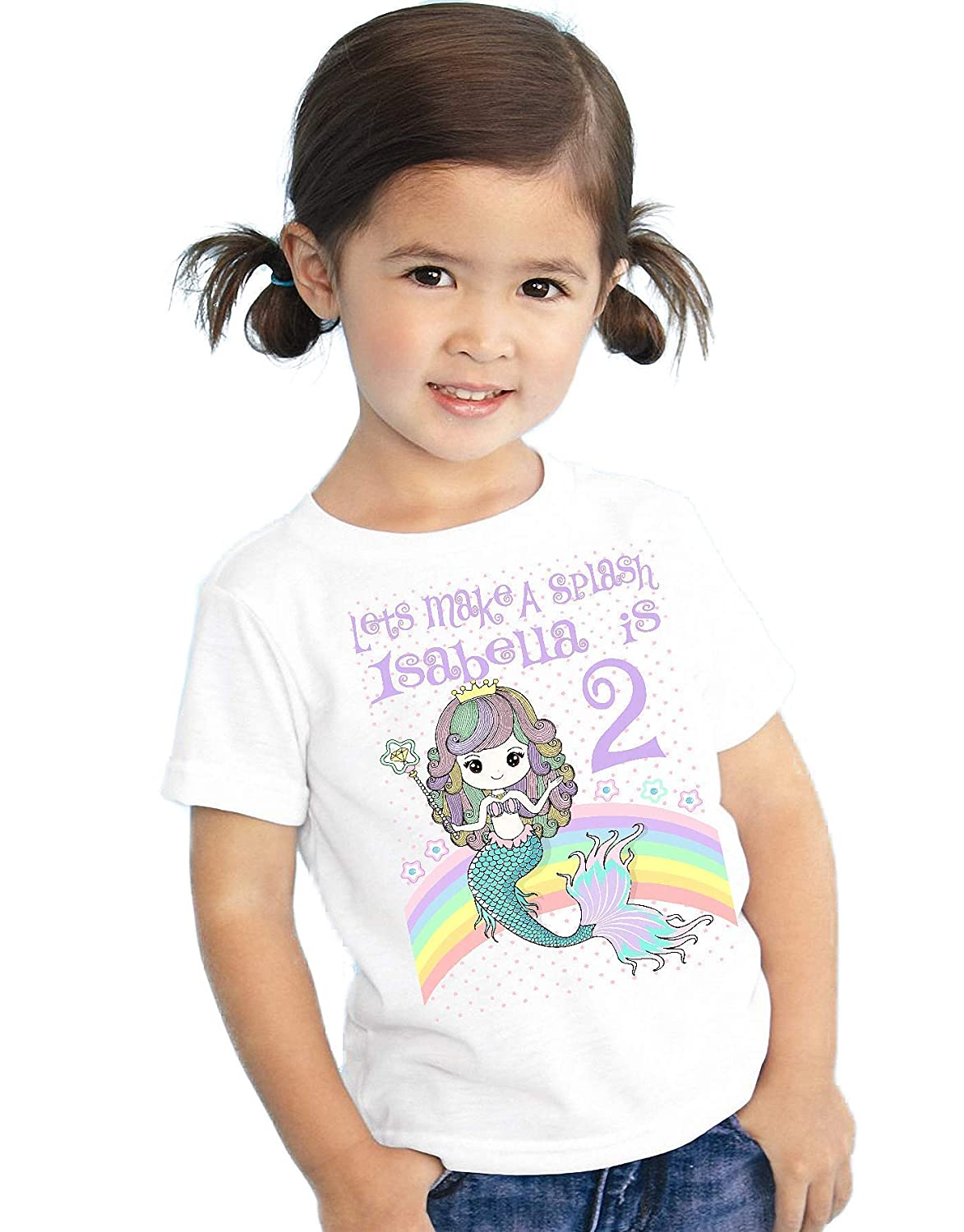 Amazon Personalized Mermaid Birthday T Shirt Girls Kids Youth Tee Custom Name Age Cute Magic Gift Ideas Handmade