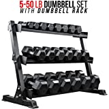 Rep Rubber Hex Dumbbell Set with Racks, 5-50 Dumbbell Set with 1 Rack, 5-75 Set with 2 Racks, 5-100 Set with 2 Racks, 55-75 with 1 Rack, 55-100 with 1 Rack, 80-100 with 1 Rack, or 105-125 with 1 Rack.