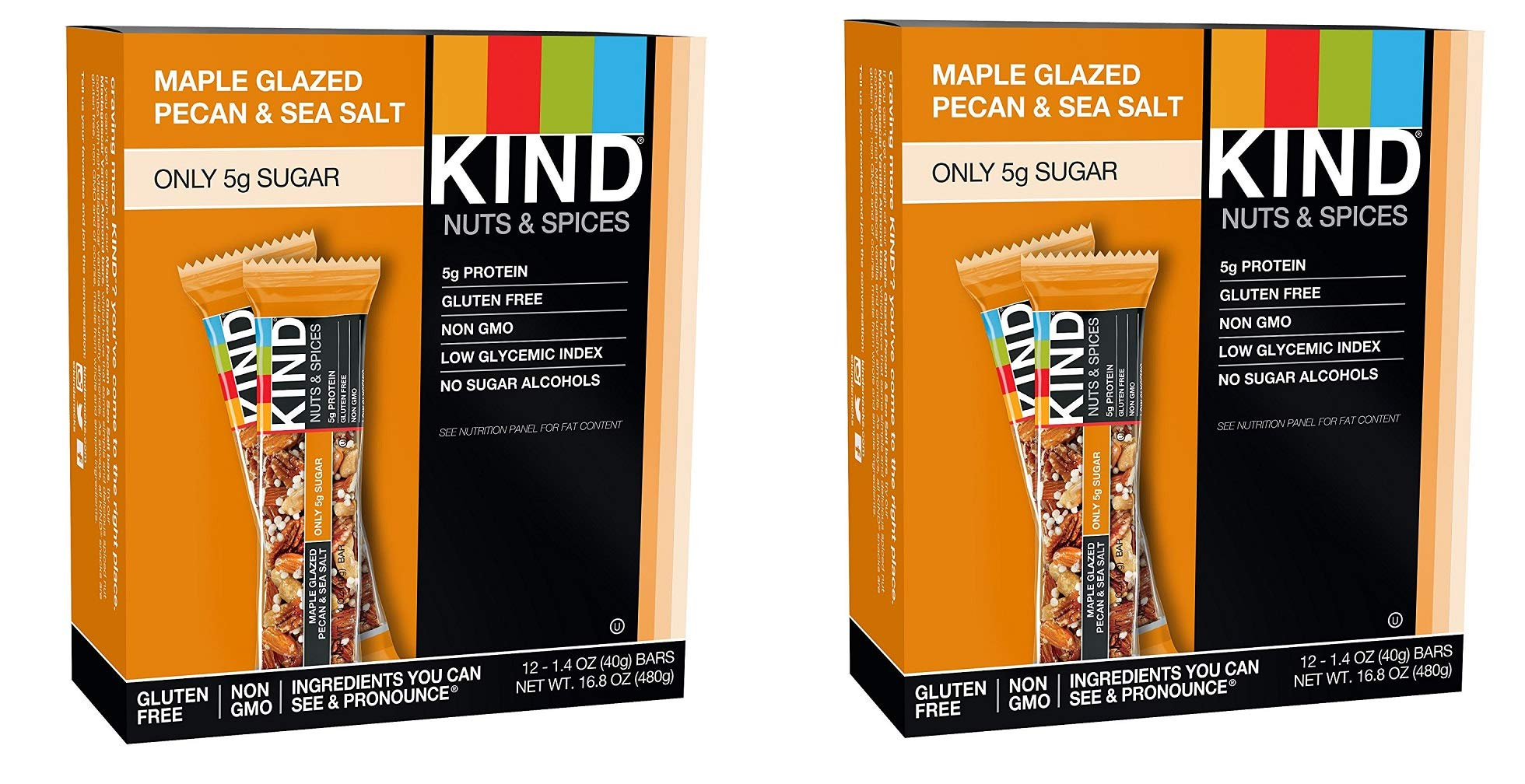 KIND Bars, Maple Glazed Pecan and Sea Salt, Gluten Free, Low Sugar, 1.4oz, 24 Bars